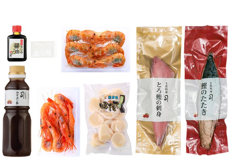 鰹の塩たたき・刺身海鮮セット