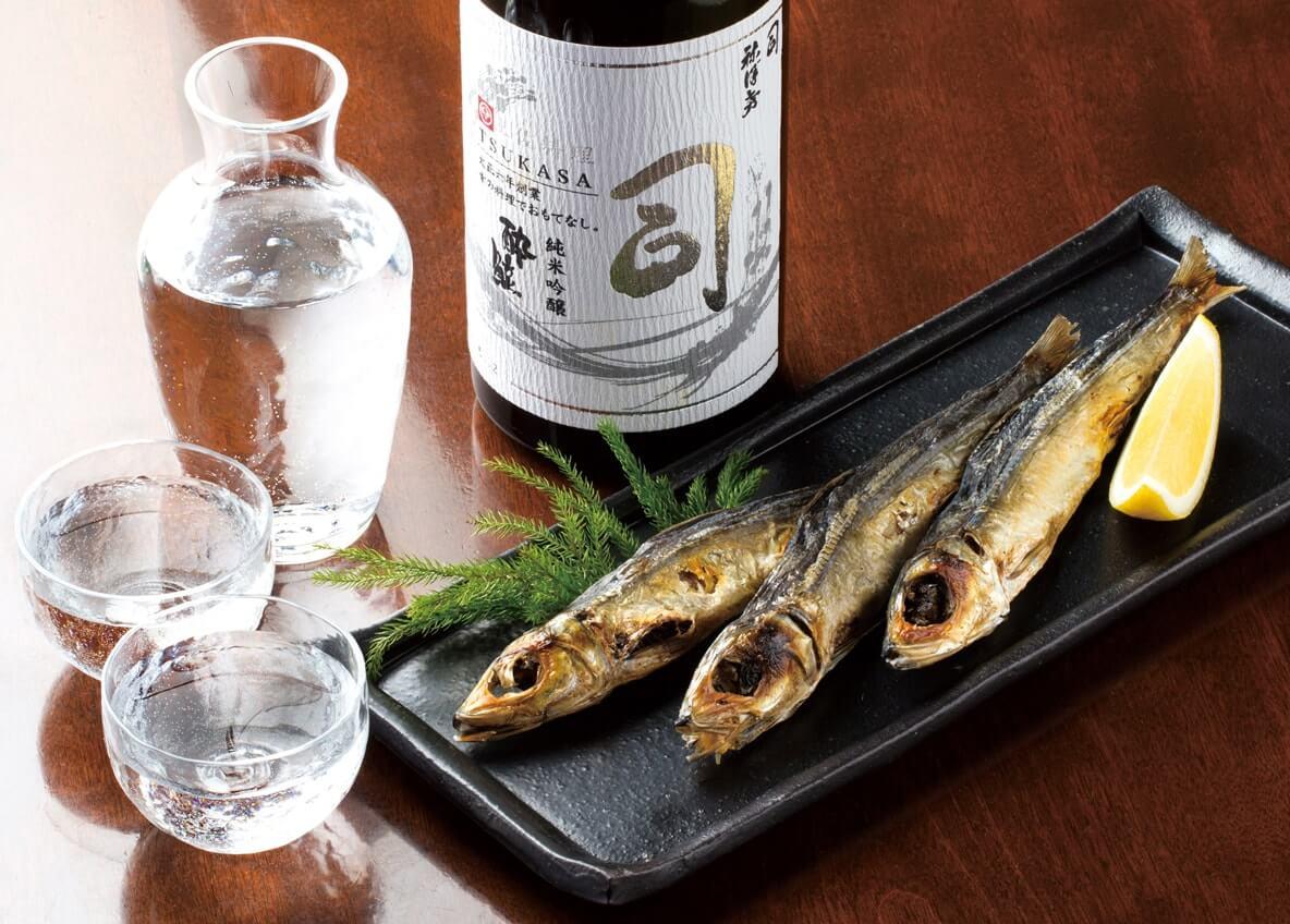 一本釣りうるめ丸干し・司 (白)日本酒セット